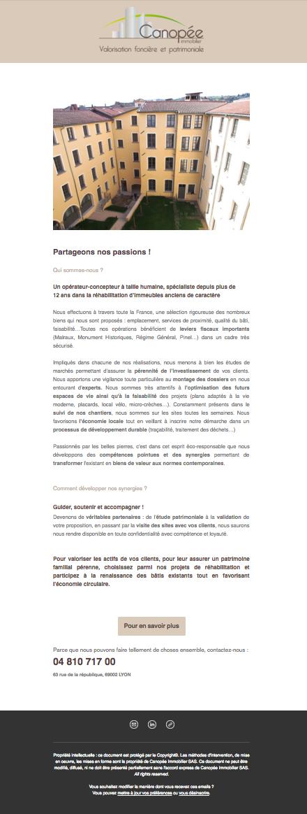 Newsletter de présentation de Canopée Immobilier
