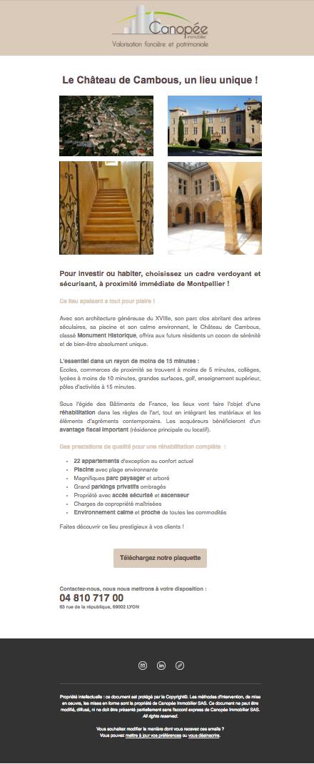 Newsletter réhabilitation du Chateau de Cambous à Montpellier